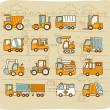 Cars,transportati on, automobile, work machine icon set — Stock Vector