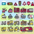 Emergency services,vehicles,t ransportation ,car,traffic Icon set — Stock Vector