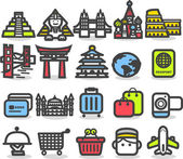 Travel,landmarks,tr ip,business travel icon set — Vector de stock