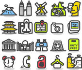 Travel,landmarks icon set — ストックベクタ