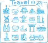 Travel ,landmark,transportation icon set — Stock Vector