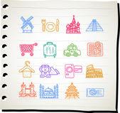 Travel,landmark,vacation icon set — Stock Vector