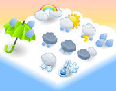 Cute weather icon set — Stock Vector