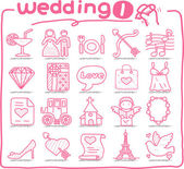 Hand drawn wedding icons — Vettoriale Stock