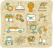 Wedding,love icons — Stock Vector