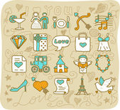 Wedding,love icons — Vector de stock