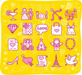 Wedding,love icons — Stock Vector