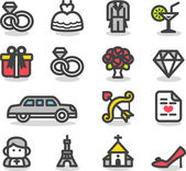 Wedding ,love icon set — Vector de stock