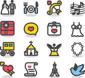 Wedding ,love icon set — Vecteur