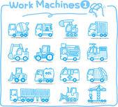 Hand drawn Machine icons — Vector de stock