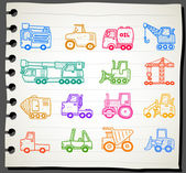 Cars,transportation , automobile, work machine icon set — Vettoriale Stock