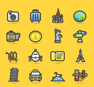Business trip icon set