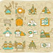 Travel, and landmarks icons — Stock Vector