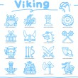 Viking icons set — Stock Vector