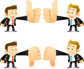 Businessmen showing thumbs up and down — Stock Vector
