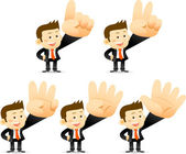 Businessman showing signs — Stock Vector