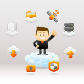 Business man with cloud network — Stock Vector