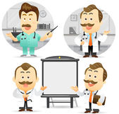 Doctor giving presentation with projection screen. — Stock Vector