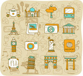 Travel and landmarks icons — Stock Vector