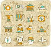 Symbole für reisen und sehenswürdigkeiten — Stockvektor