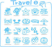 Hand drawn travel icons — Vettoriale Stock