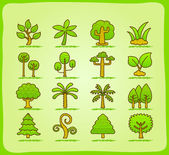 Tree icons set — Stock Vector