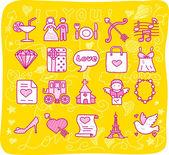 Bruiloft en liefde pictogrammen — Stockvector