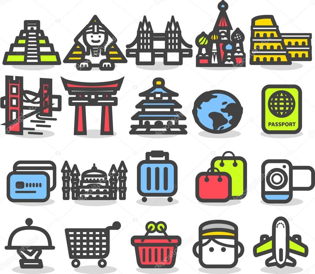 旅游和旅行的图标 — 图库矢量图片