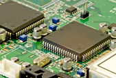 Close-up of a PCB with some ICs — Stock Photo