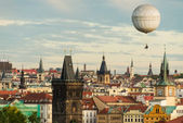 Prague oldtown with balloon — Stock Photo