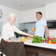 Couple in kitchen — Foto Stock