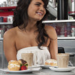Happy girl in cafe — Stock Photo