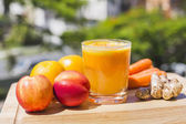 Glass of fresh fruit and vegetable juice — Stock Photo