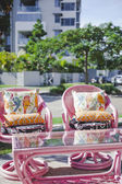 Chairs and table setting outside — Stock Photo
