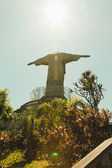 Looking up at Christ the Redeemer statue from behind — Stock Photo