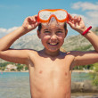 Smiling boy with diving mask — Stock Photo