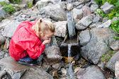 Thirsty girl drinking water — Stock Photo