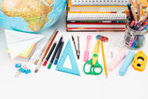 School accessories on a white background — Stock Photo