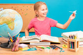 Young girl dreaming about flying round the world — Foto Stock