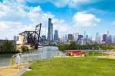 Park with Chicago Downtown Background — Stock Photo