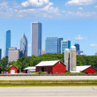American Red Farm With Chicago Skyline in Background — Stock Photo #16564039