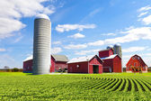 American Countryside Red Farm With Blue Sky — 图库照片