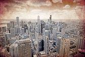 Chicago - vecchio disegno cartolina — Foto Stock