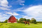 Paysage agricole avec vieille grange rouge — Photo