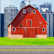 American Red Farm With Chicago Skyline in Background — Stock fotografie