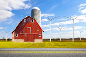 Old Red Barn With Wind Turbines — Stock Photo
