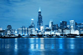 Chicago Night Skyline as Financial Fistrict — Stock Photo