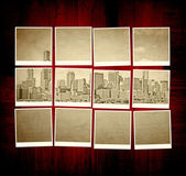 Vintage Chicago Pictures on Wooden Table — Stok fotoğraf
