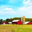 American Countryside Red Farm With Blue Sky — Stock Photo #22756764