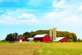 Rote amerikanische landschaft bauernhof mit blauer himmel — Stockfoto